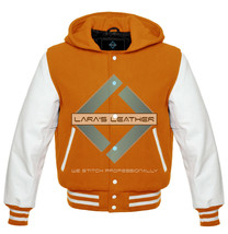 Letterman College Varsity Jacket with Hood & White Real Leather Sleeves ... - $84.64+