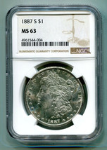 1887-S MORGAN SILVER DOLLAR NGC MS63 NICE ORIGINAL COIN FROM BOBS COIN F... - $255.00