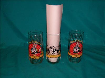LIBBEY 3 WARNER BROTHERS BUGS BUNNY BIRTHDAY GLASSES