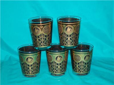 LIBBEY 5 GOLD AND BLACK LOW TUMBLERS DESIGN UNKNOWN