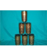 LIBBEY 6 GOLD AND BLACK TALL TUMBLERS DESIGN UNKNOWN - $75.00