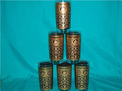 LIBBEY 6 GOLD AND BLACK TALL TUMBLERS DESIGN UNKNOWN