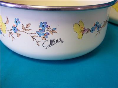 SALTERA ENAMEL MIXING BOWLS FLOWER DESIGN