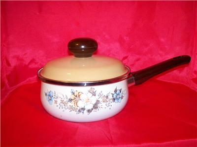Vintage Flowered Enamel Sauce Pan With Crown Marking