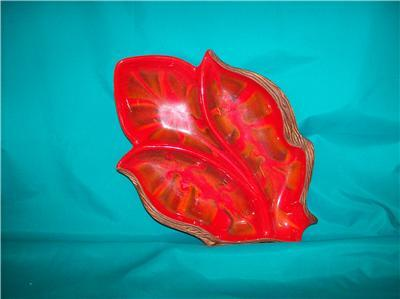 TREASURE CRAFT 1960'S LEAF CANDY DISH MARKED #603 USA
