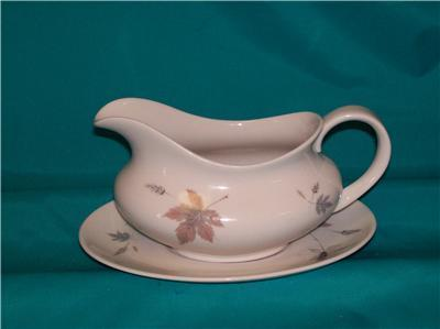 ROYAL DOULTON TUMBLING LEAVES GRAVY BOAT AND UNDERPLATE