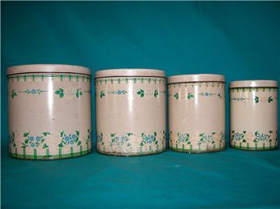 VINTAGE SHABBY ROSE CHIC 4 PIECE CANISTER AS THEY ARE