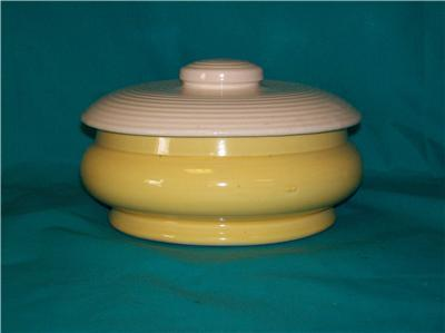 Possible McCoy Yellow Pottery Casserole With Lid