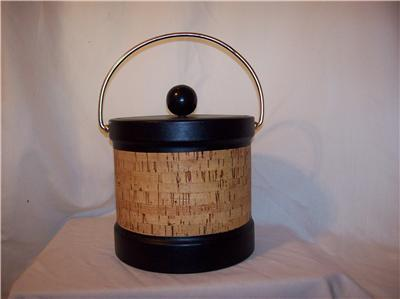 VINTAGE KRAFTWARE LEATHER AND CORK ICE BUCKET WOOD KNOB