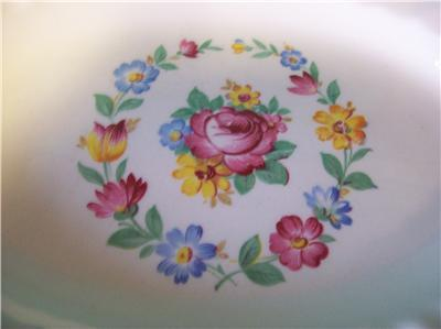 Tiny Oval Platter Edwin M Knowles Floral Center Gold Tr