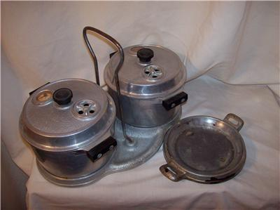 Vintage Economy Aluminum Tiny Pressure Cookers & Trays