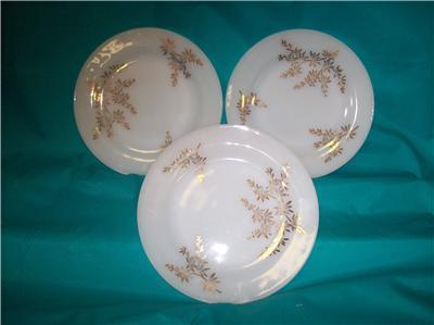 FEDERAL GLASS GOLDEN GLORY 3 SALAD PLATES 22K DESIGN