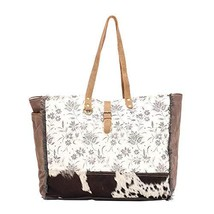 Myra Bag Ursinia Upcycled Canvas & Cowhide Weekender Bag S-1513 - $52.30