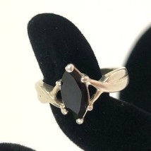 Vintage Solitaire Black Marquise Onyx 925 Sterling Silver Ring Band Stone AVON - $25.23