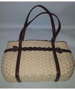 Brighton Woven and Brown Leather Purse Handbag Snap Closure Shoulderbag - $42.03