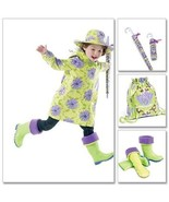 McCall's 6392 Child's Raincoat Hat Backpack Boot Liners Pattern 3-8 - $8.95