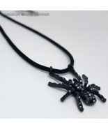 DWL Black Mirrored Stone Spider Corded Necklace - $11.99