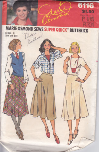 Vintage 70's Marie Osmond Sews Flared Skirt Pattern 28 30 32 Butterick 6116