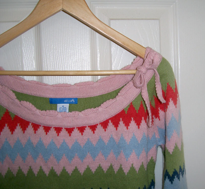 Delias sweater w 40s style pink orange green