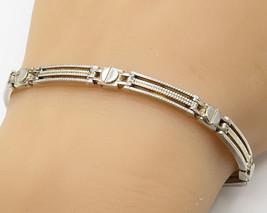 925 Sterling Silver- Vintage Modest Rectangle Link Design Chain Bracelet... - $55.71