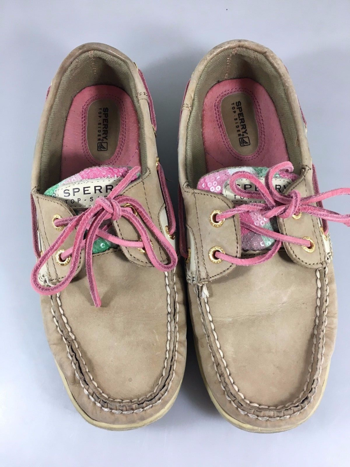 Sperry Top-Sider Womens 8.5 M Tan Leather Sequins Boat Shoes Non-Marking 9244203