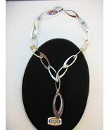 FOSSIL Brand-Mother of Pearl Stainless Steel Link Necklace- Gift Tin - ... - $28.00