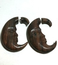 LARGE VINTAGE POLYNESIAN CARVED WOOD CELESTIAL MAN IN THE MOON EARRINGS - $48.00
