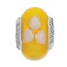 Lovelinks Charm,Yellow Murano Glass Charm (Saffron Clematis), New - $26.00