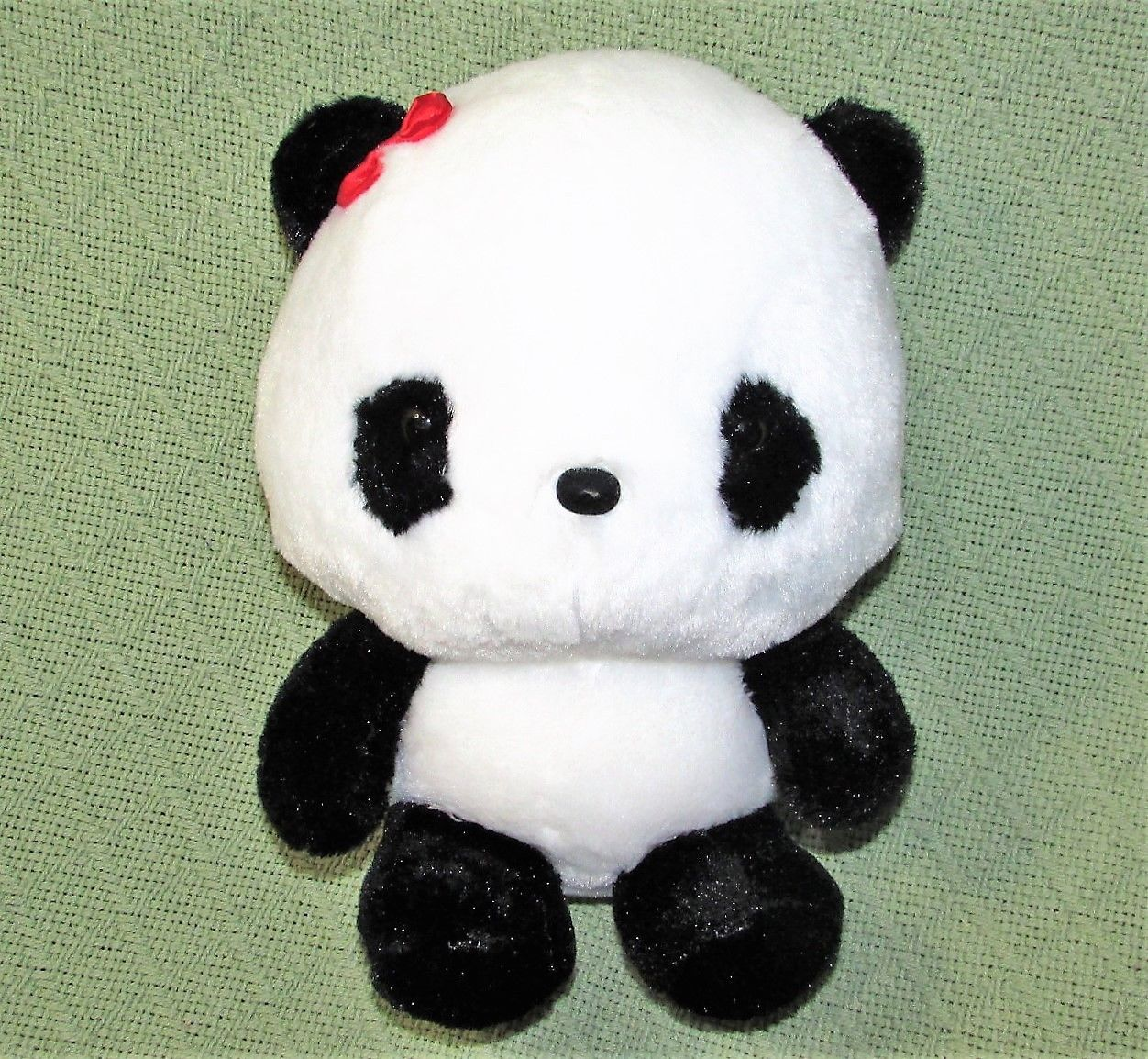 "ANIME PANDA Plush Japanese Stuffed Animal DOll Toy Black White RED BOW 9"" Baby"