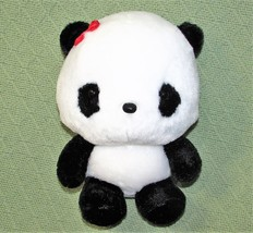 "ANIME PANDA Plush Japanese Stuffed Animal DOll Toy Black White RED BOW 9"" Baby  image 1"