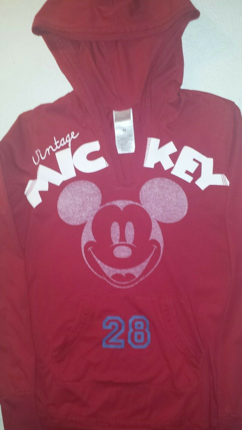 Primary image for Disney Vintage Mickey Mouse Medium Red / White Mickey 28 Hoodie Vneck Shirt