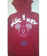 Disney Vintage Mickey Mouse Medium Red / White Mickey 28 Hoodie Vneck Shirt - $9.89