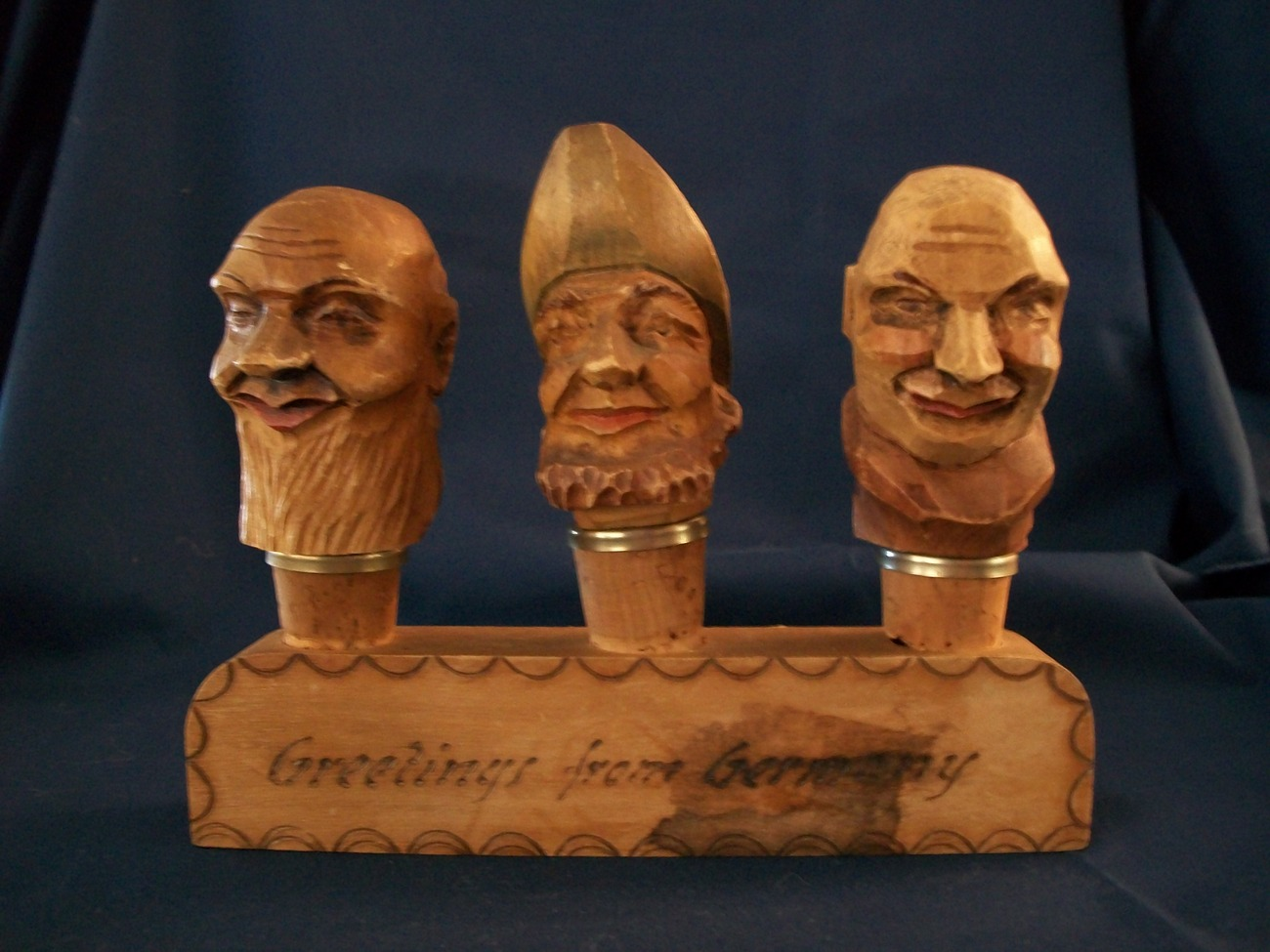 Vintage German Wooden Carved Heads Cork Wine Aerator/Pourers
