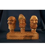 Vintage German Wooden Carved Heads Cork Wine Aerator/Pourers - $55.00