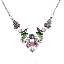 ART DECO GLOSS MULTICOLORED STATEMENT NECKLACE - $54.82