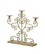 Antiqued Scrollwork Pillar 3-Candle Stand - $30.00