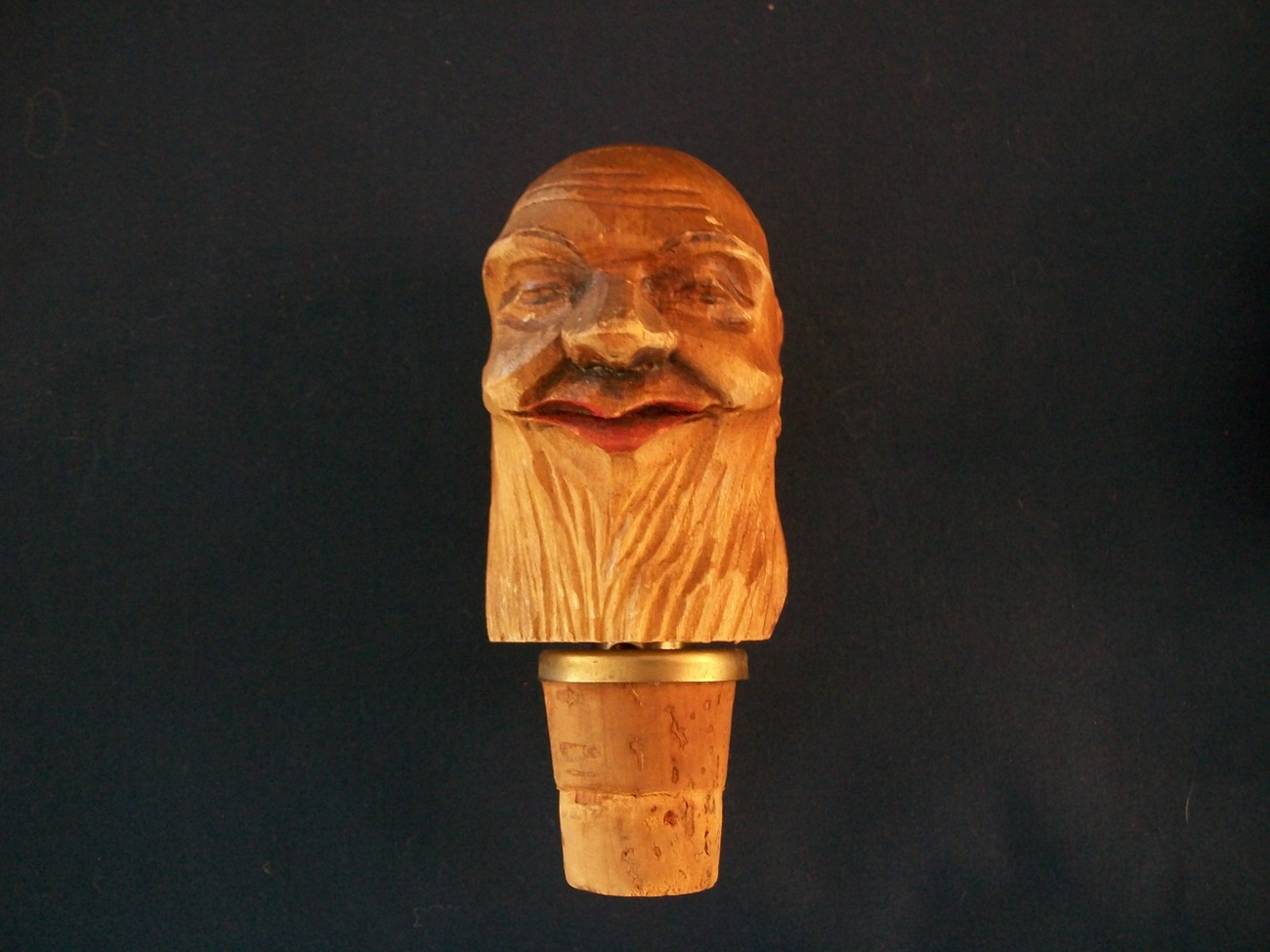 Vintage German Wooden Carved Heads Cork Wine Aerator/Pourers