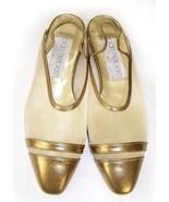 NEW JOAN HELPERN gold metallic evening shoes fl... - $53.99