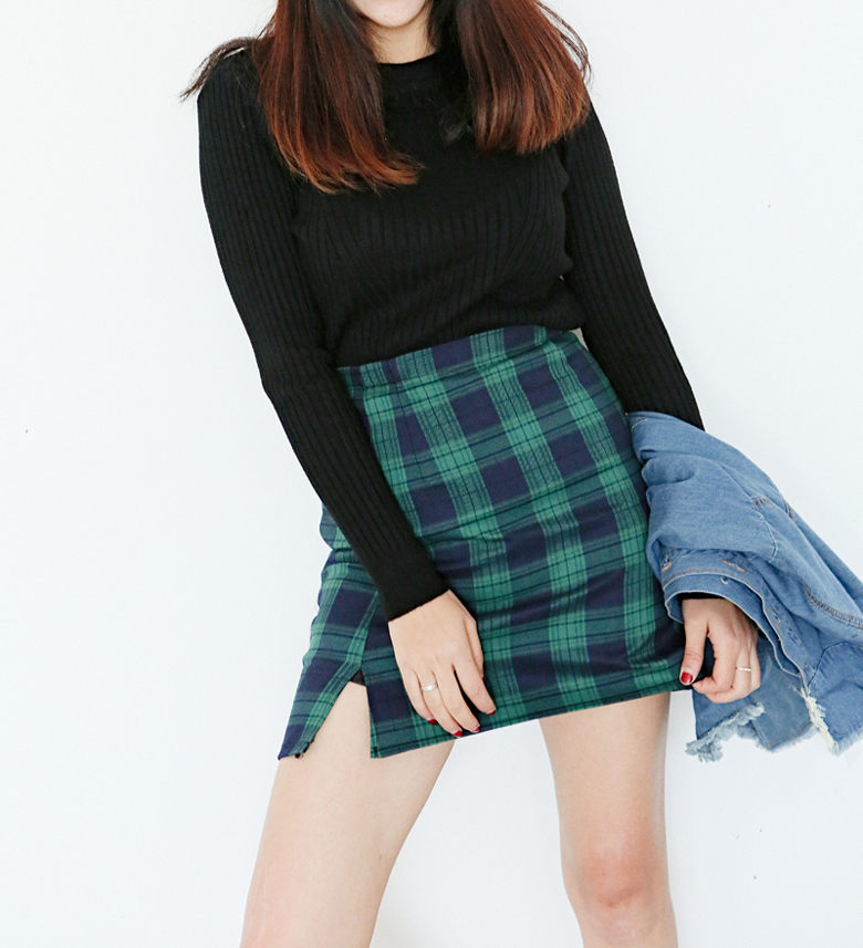 GREEN Plaid Skirt High Waisted Mini Plaid Skirt School Plaid Skirt Outfit