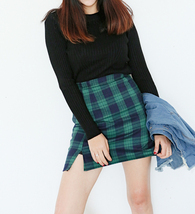 GREEN Plaid Skirt High Waisted Mini Plaid Skirt School Plaid Skirt Outfit image 1