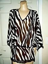 Nwt Michael Kors BLACK/WHITE Stripe 3/4 Sleeve V.Neck Top Size L $110 - $48.37