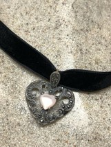 vintage marcasite Choker Deco Pink Mother of Pearl Heart - $51.76