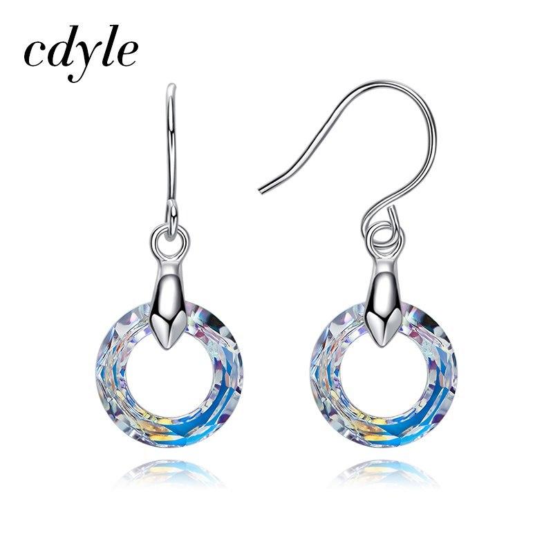 Om swarovski multicolor round drop earrings fashion jewelry for women 2018 new fashion christmas