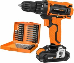 EnerTwist 20V Max Cordless Drill 3/8 Inch Power Drill Set w/Lithium Ion ... - $59.95