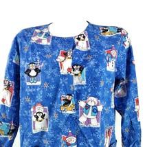 Cherokee Christmas Snowman Small Penguins Bears LS Scrub Top - $18.80