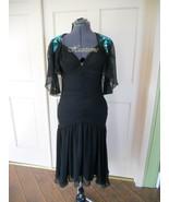 Unusual 80s dress black dance teal sequin bead... - $75.00