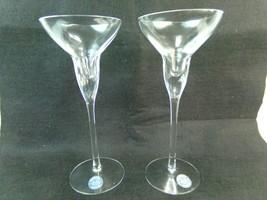 "Pair Of Glass Crystal Lenox 7"" Candlesticks Rhythm Taper Or Pillar Set o... - $28.49"