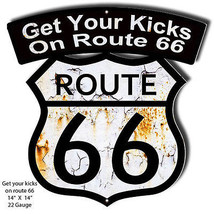 Get You Kicks Route 66 Laser Cut Out Reproduction Sign 14×14 - $25.74