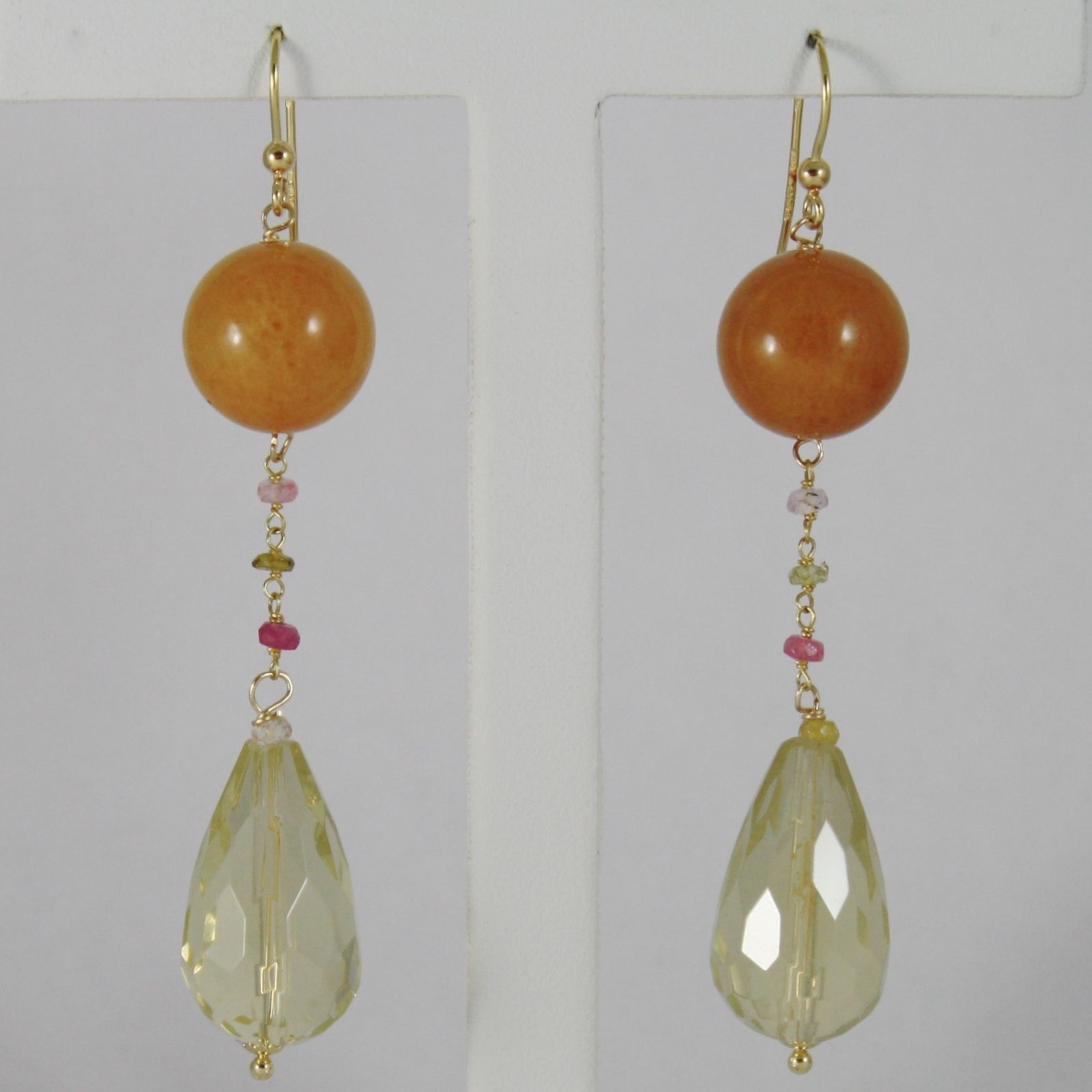 18K YELLOW GOLD PENDANT EARRINGS ARAGONITE LEMON QUARTZ TOURMALINE MADE IN ITALY