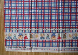fabric Red and Blue Plaid with Party Animal Pictures on bottom 1/2 yard - $1.83